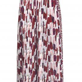 Prada Pleated Lip-print Skirt
