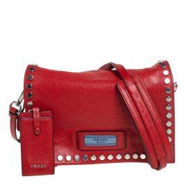 Prada Red Etiquette Embellished Leather Shoulder Bag