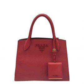 Prada Red Saffiano Leather Monochrome Shoulder Bag