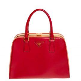 Prada Red/Orange Saffiano Parent Leather Pyramid Frame Top Handle Bag