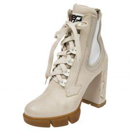 Prada Vanilla Leather and Neoprene Lace Up Combat Platform Boots Size 39