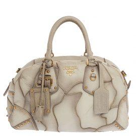 Prada White Ombre Deerskin Leather, Croco and Lizard Trim Patchwork Cervo Bowler Bag