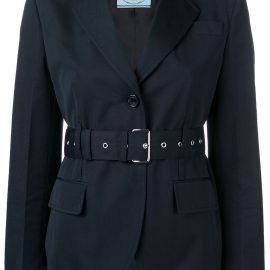 Prada belted single-breasted blazer - Blue