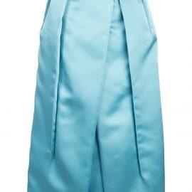 Prada corsage detail inverted pleat skirt - Blue