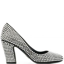 Prada embellished chunky heel 85mm pumps - Black