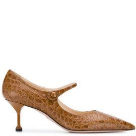 Prada embossed crocodile effect pumps - Brown