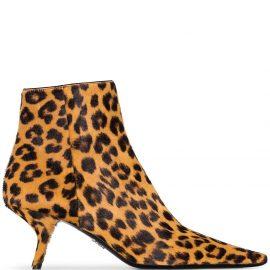 Prada leopard print 65mm ankle boots - Brown