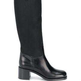 Prada logo plaque knee high boots - Black