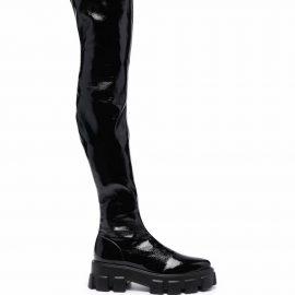 Prada lug-sole thigh-high boots - Black