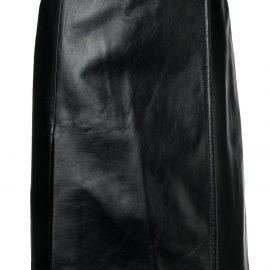 Prada wrap front leather skirt - Black