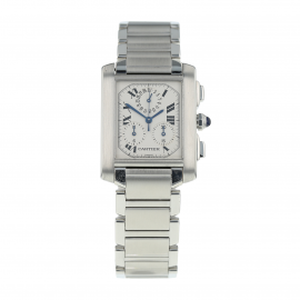 Pre-Owned Cartier Tank Française Chronoflex Mens Watch W51001Q3/2303