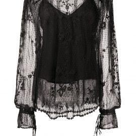 Preen By Thornton Bregazzi lace-pattern sheer blouse - Black