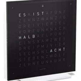 QLOCKTWO Touch Pure Black Ice Tea Table Clock