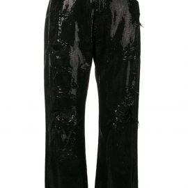 R13 sequin embellished jeans - Black