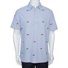 Ralph Lauren Blue Flag Embroidered Striped Knit Oxford Shirt L