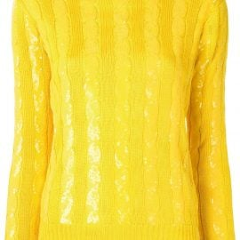 Ralph Lauren Collection sequin-embellished cable-knit sweater - Yellow