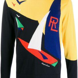 Ralph Lauren Purple Label crew neck knitted logo sweater - Yellow