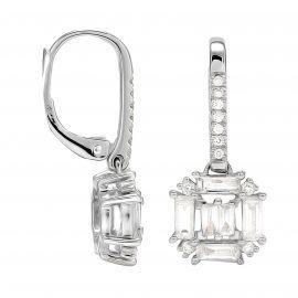 Renee 18ct White Gold 0.81cttw Diamond Cluster Drop Earrings