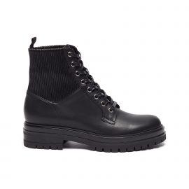 Rib Cuff Leather Combat Boots