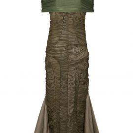 Richard Malone ruched off-shoulder midi dress - Green