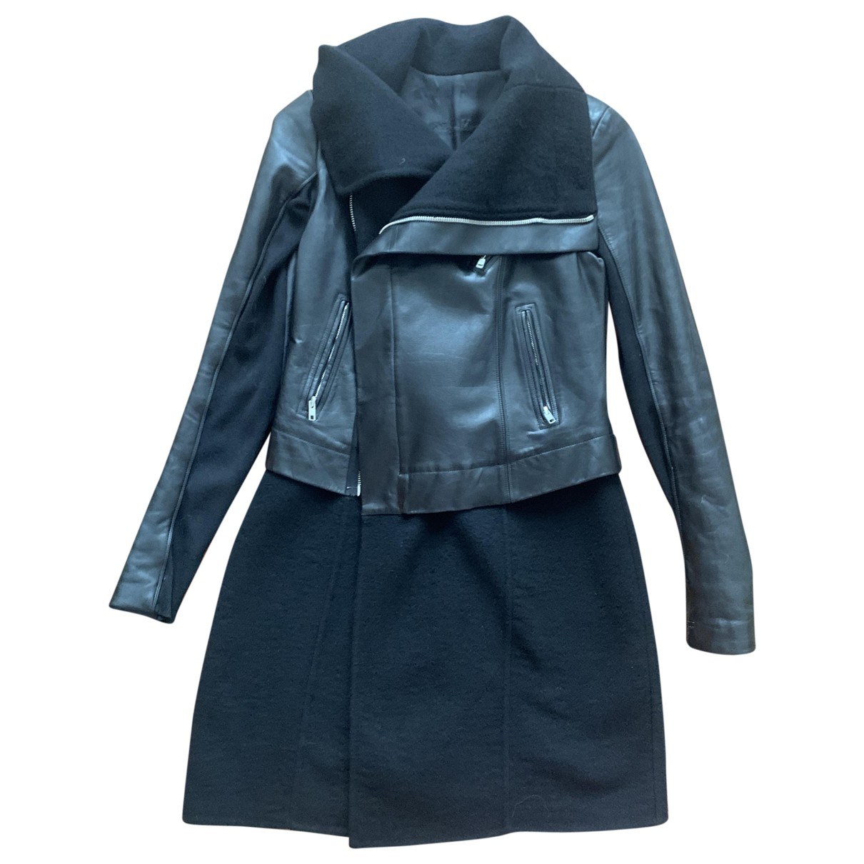 Rick Owens N Black Leather Coat for Women