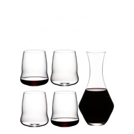 Riedel Stemless Wings Cabernet Sauvignon Glasses X 4 & Decanter Gift Set