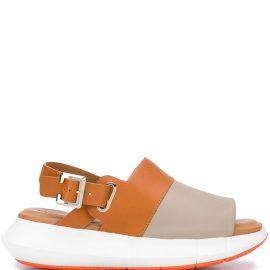 Robert Clergerie colour blocked slingback sandals - Brown