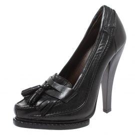 Roberto Cavalli Black Leather Fringe And Tassel Detail Loafer Pumps Size 36.5