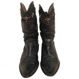 Roberto Cavalli Leather cowboy boots