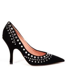 Rochas - Crystal-embellished Velvet Pumps - Womens - Black