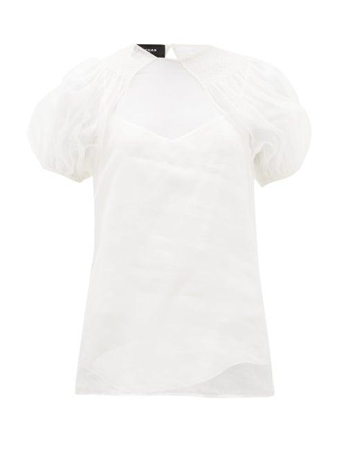 Rochas - Smocked Silk-organza Blouse - Womens - Ivory
