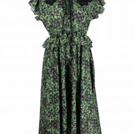 Rokh leaf-print shirt dress - Green