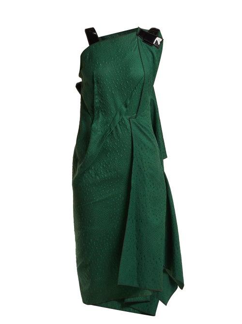 Roland Mouret - Cedrela Silk Blend-jacquard Asymmetric Midi Dress - Womens - Green
