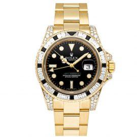 Rolex Black 18K Yellow Gold GMT-Master II 116758SANR Men's Wristwatch 40 MM