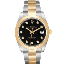 Rolex Black Diamonds 18K Yellow Gold And Stainless Steel Datejust 126303 Men's Wristwatch 41 MM