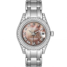 Rolex Black MOP Diamonds 18K White Gold Pearlmaster 69359 Women's Wristwatch 29 MM