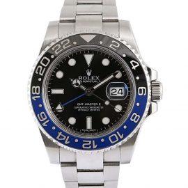 Rolex Black Stainless Steel GMT Master II Men's Wristwatch 40 MM