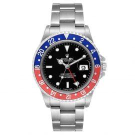 Rolex Black Stainless Steel GMT Master II Pepsi 16710 Men's Wristwatch 40 MM