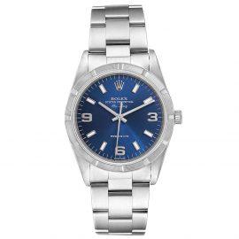 Rolex Blue Stainless Steel Air King 14010 Men's Wristwatch 34 MM