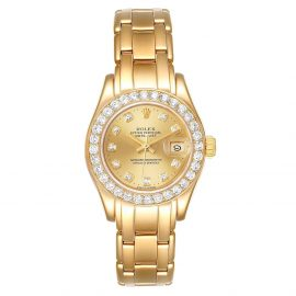 Rolex Champagne Diamonds 18K Yellow Gold Pearlmaster 69298 Women's Wristwatch 29 MM