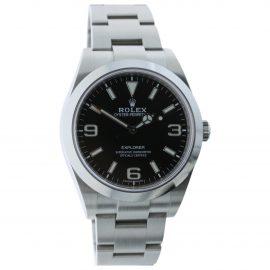Rolex Explorer 39mm Black Steel Watch for Men