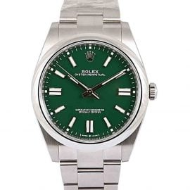 Rolex Green Stainless Steel Oyster Perpetual Men's Wristwatch 41 MM