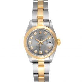 Rolex Grey Diamonds 18K Yellow Gold And Stainless Steel Datejust 69163 Women's Wristwatch 26 MM