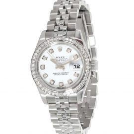 Rolex MOP Diamonds 18K White Gold And Stainless Steel Datejust 179384 Women's Wristwatch 26 MM