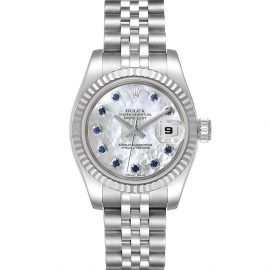 Rolex MOP Saphire 18K White Gold And Stainless Steel Datejust 179174 Women's Wristwatch 26 MM