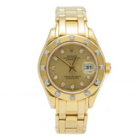 Rolex Pearl-Master Champagne Yellow Gold Diamond Women's Watch 29 MM