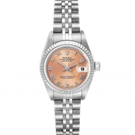 Rolex Salmon 18K White Gold And Stainless Steel Datejust 79174 Automatic Women's Wristwatch 26 MM