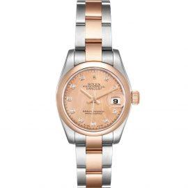 Rolex Salmon Diamonds 18k Rose Gold And Stainless Steel Datejust 179161 Women's Wristwatch 26 MM