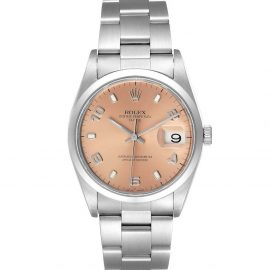 Rolex Salmon Stainless Oyster Perpetual Date 15200 Men's Wristwatch 34 MM