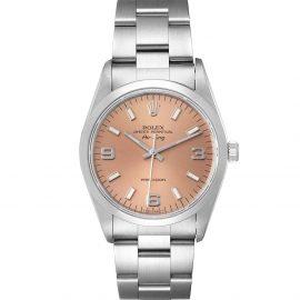 Rolex Salmon Stainless Steel Air King 14000 Men's Wristwatch 34 MM